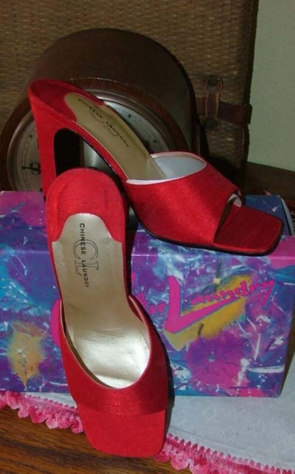 3bf4594dfc2 Chinese Laundry Hot Rod Red Shantung Mules New Pumps Size US 7.5 ...