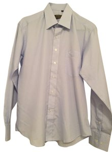 Giorgio Armani Button Down Shirt Baby blue and white checked