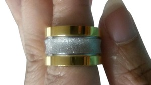 Gold Ion Stainless Steel Wide Band Size 6.5 - 7