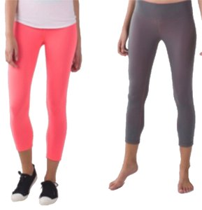 Lululemon New With Tags Lululemon Wunder Under Crop Size 6 Reversible Grapefruit And Slate Gray