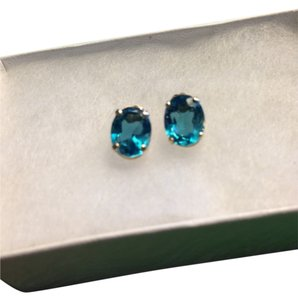 Blue Topaz/14K Yellow Gold Studs
