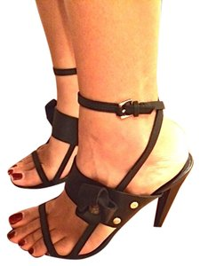 L.A.M.B. Leather Black Sandals
