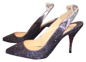 Christian Louboutin Red Sole Slingback Holiday Silver Pumps