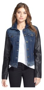 Laundry by Shelli Segal Leather Denim Designer Bomber Blue & Black Womens Jean Jacket