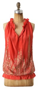 Anthropologie Top Coral with gold & silver