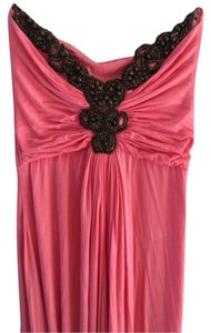 Salmon pink Maxi Dress by Sky Maxi Wooden Beading Rouched Fitted Evening Holiday Strapless