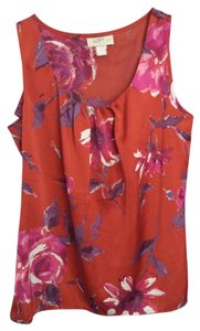 Ann Taylor LOFT Red Flowers Top Red, magenta, purple