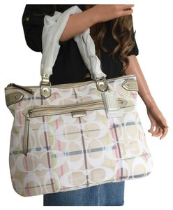 Coach Signature Tattersall Emma Tote in Beige/Multicolor