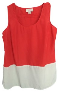 Ann Taylor LOFT White Colorblock Top Red