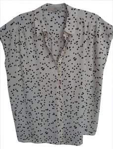 Ann Taylor LOFT Dots Pattern White Top White, black