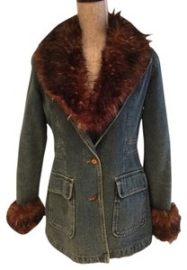Other Denim Fur Quilted Winter Warm Blue Denim Womens Jean Jacket