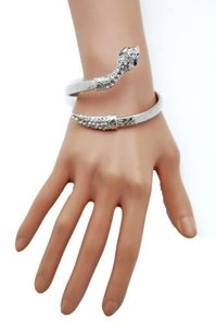 Other Women Silver Narrow Cuff Bracelet Metal Fashion Jewelry Wrap Around Snake Bangle