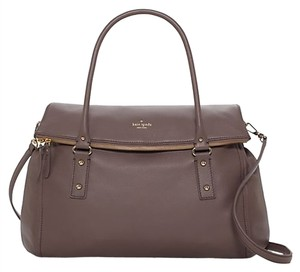 b44ab55f35 Kate Spade New York Pebbled Leather Gold Hardware Oversized French Gray  Taupe Travel Bag