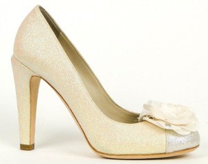 Chanel Silver and Gold Glitter with Flower Classic Cc Pumps Size US 6.5