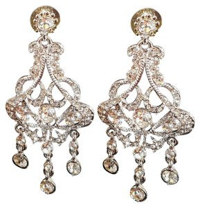 Gorgeous Bridal Chandelier Earrings Silver Plated Crystals
