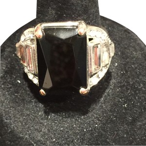 Black and Clear Crystal Rectangular Ring (Size 6)