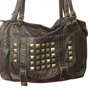 Converse Studs Distressed Hobo Target Satchel in distressed charcoal/black