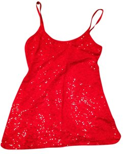 Dots Sequins Jeweled Top Red