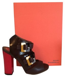 Banfi Zambrelli Dark brown w/red heel Wedges
