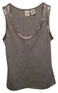 A|X Armani Exchange Beaded Sequin Embellished Top Grey/Silver