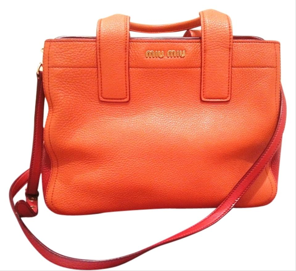 acda1a91db61 Miu Miu Two-tone Vitello Rosso Satchel in Papaya-Rosso (Sunny Orange) ...