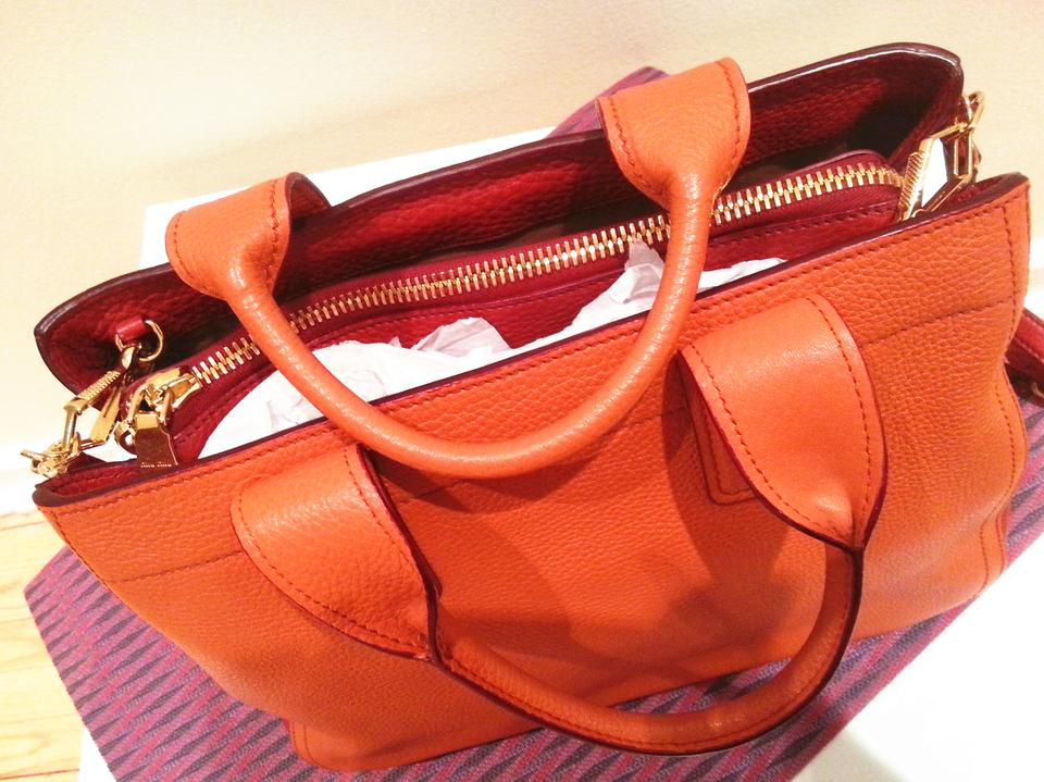 e658c9867807 Miu Miu Vitello Bicolore Papaya-rosso (Sunny Orange) Leather Satchel ...
