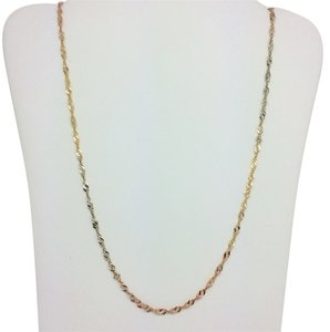 14K Solid Tri-Color Gold Twisted Chain 16