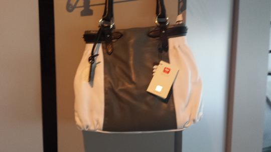 Blu Style Leather Handbag Tote in White and Grey