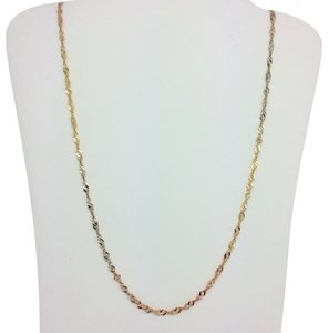Other 14K Solid Tri-Color Gold Twist Chain