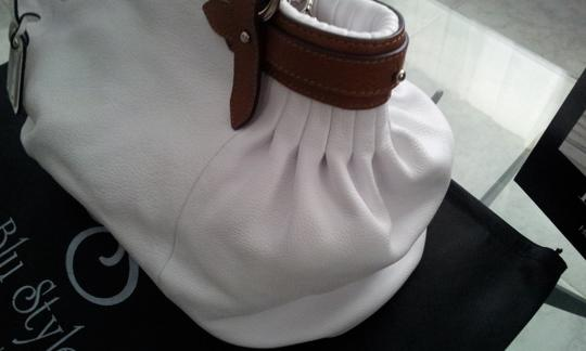 Blu Style Leather Tote in White with Brown accents