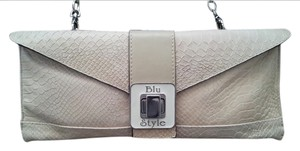 Blu Style Leather Beige Clutch