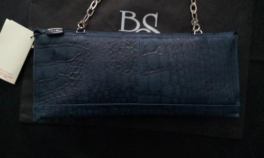 Blu Style Leather Blue Clutch