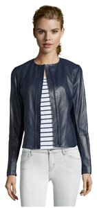Vince Tailored Sleek Chic Leather Coastal Blue Leather Jacket