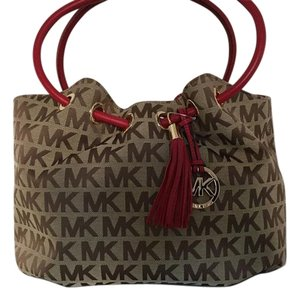 Michael Kors Signature Ring Tote in Beige Red