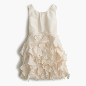 J.Crew Ivory Taffeta Girl Girls' Lyla Flower Traditional Bridesmaid/Mob Dress Size 6 (S)