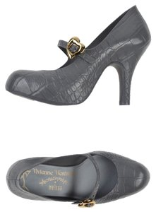 Vivienne Westwood New Designer Gold Hardware Unique Pattern Buckle Strap Grey Pumps