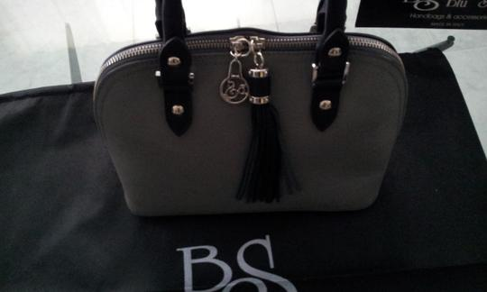 Blu Style Leather Tote in Grey with Black accents