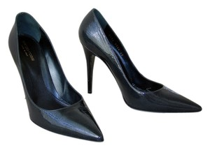 Sergio Rossi Pointed Toe Steel Patent Pumps