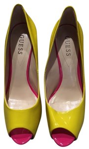 Guess Stiletto Open Toe Yellow Pumps