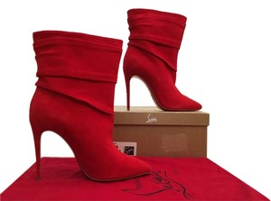 Christian Louboutin Ishtar Booty Suede Red Boots