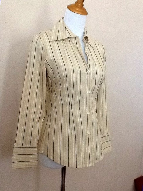 New York & Company Striped Button Down Shirt Camel multi