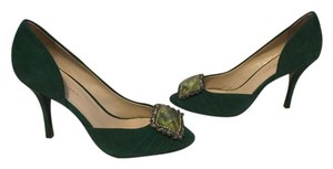Elie Tahari All Leather Green Suede Pumps