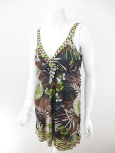Sweet Pea by Stacy Frati short dress Green, Black, Brown Anthropologie Nylon Mesh Floral Tank on Tradesy