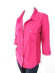 Lucy Pink Maroon Stretch Casual Button Front Shirt Top Blouse