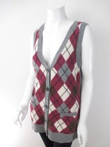 CAbi Gray Purple Argyle Wool Sweater