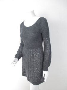 Anthropologie short dress Gray Knitted Knotted Knit 100 Alpaca Sweater on Tradesy