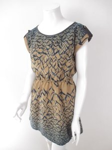 Double Zero short dress Brown, Blue The Buckle Sparrow Bird Print Faux Leather Trim on Tradesy