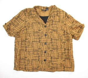 Maggie Barnes Geometric Button Front Twinset 2x Top Gold-Brown, Black