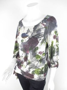 Weston Wear Anthropologie Cream Gray Purple Floral Watercolor Top Multi-Color