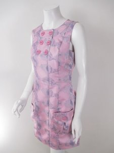 Samuel Dong Pink Metallic Snakeskin Print Sheath Dress